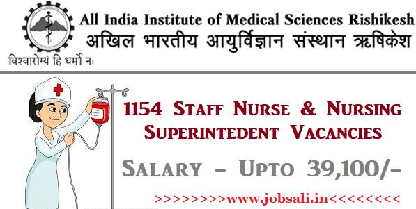 Govt Nursing jobs, AIIMS Staff Nurse Vacancy, AIIMS Risikesh Recruitment 2017