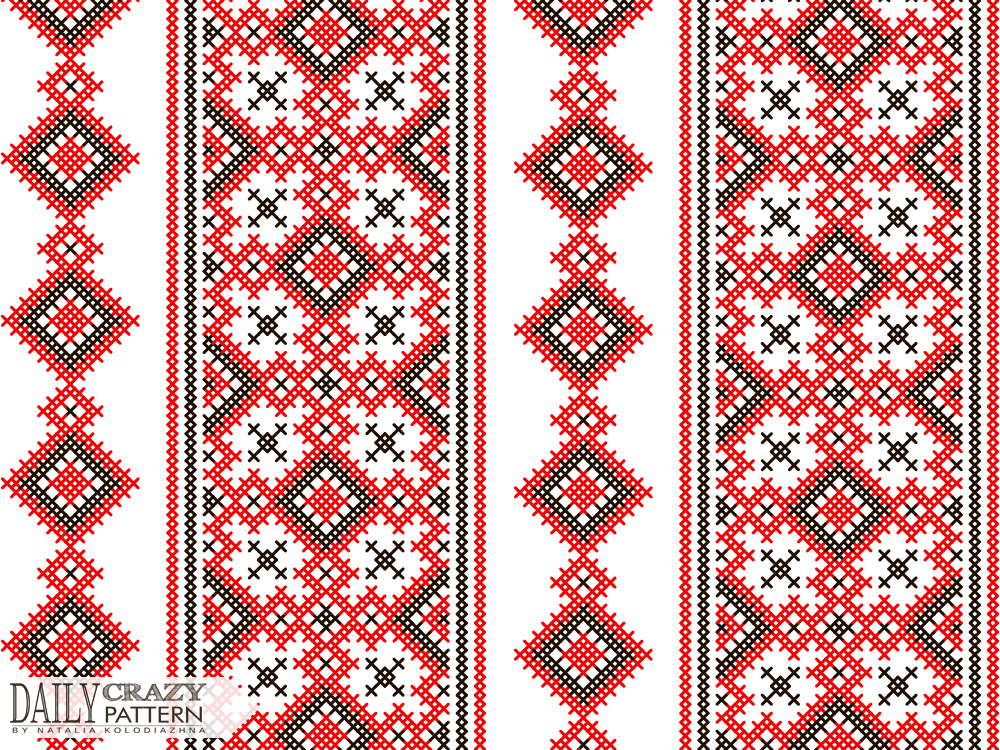 "Red and black ukrainian pattern for ""Daily Crazy Pattern"" project 