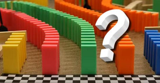 Você consegue adivinhar o resultado dessa corrida de dominós?