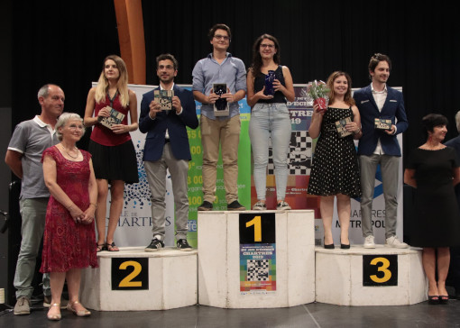 Le podium du championnat de France d'échecs 2019 - Photo © FFE