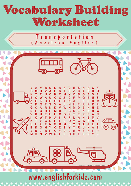 Printable transport word search worksheet for ESL students