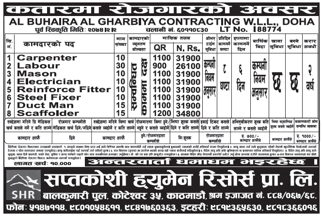 Jobs in Qatar for Nepali, Salary Rs 34,800