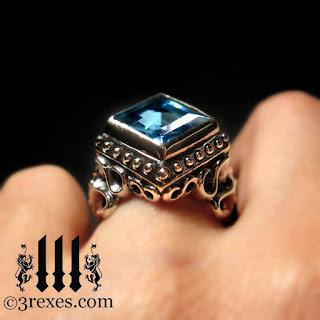 Blue Topaz Wedding Ring 30 Nice raven love silver gothic