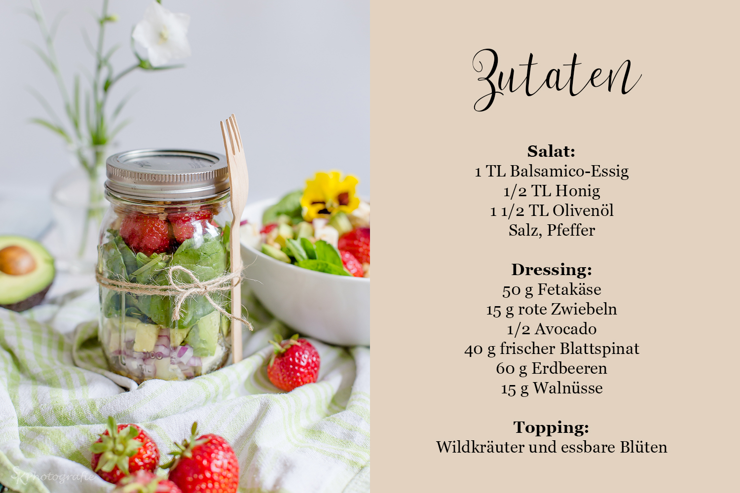 lunch to go avocado spinat salat im glas mit erdbeeren fetak se und honig dressing alles und. Black Bedroom Furniture Sets. Home Design Ideas