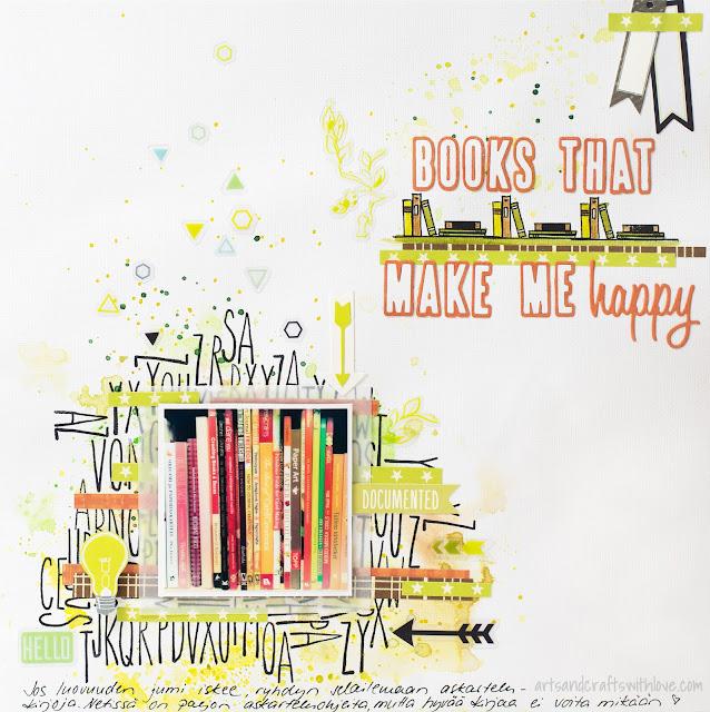 Scrapbooking layout using Jehkotar CRAFTChallenge sketch: Books that make me happy