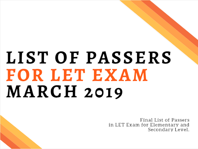 List of LET Passers March 2019