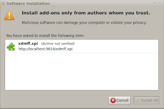 Dialog Software Installation di Firefox