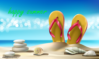 happy summer beach seashells sandals