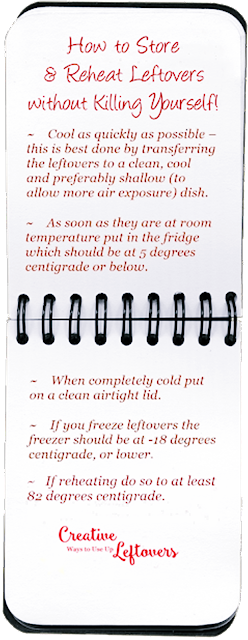 instructions on cooling, chilling, storing and reheating leftover food