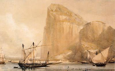 O Rochedo de Gibraltar representado num cartão postal de cerca de 1810.