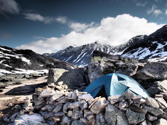 Urdadalsbekken, Norsko, Jotunheimen, stan, zima, sníh, trek, příroda
