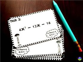 Fun with Quadratics | factoring with GCFs quadratic task cards