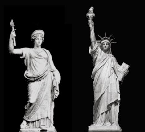 A la izquierda: la diosa romana Libertas