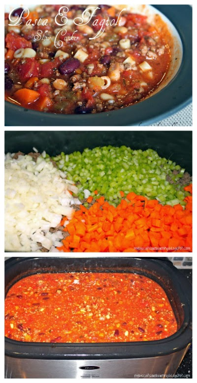 Slow Cooker Pasta e Fagioli Soup with Ground Beef from My Biscuits are Burning featured on SlowCookerFromScratch.com