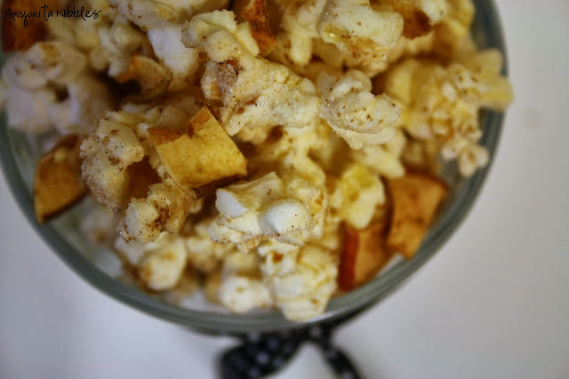 Tipsy Caramel Apple Popcorn with apple leather and apple-infused vodka from www.anyonita-nibbles.com