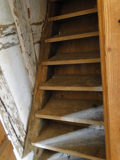 wooden stairs going up