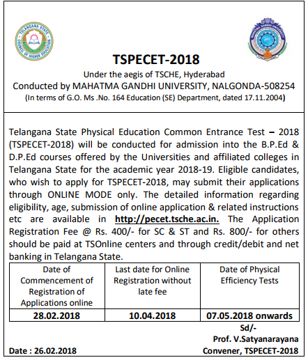 TS PECET Notification Application Form/Eligibility