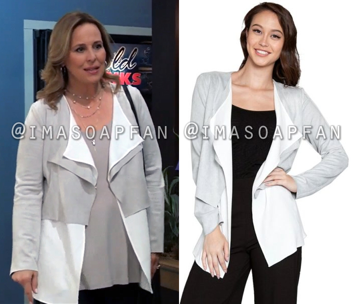Laura Collins, Genie Francis, Grey Suede and White Chiffon Layered Open Jacket, General Hospital, GH