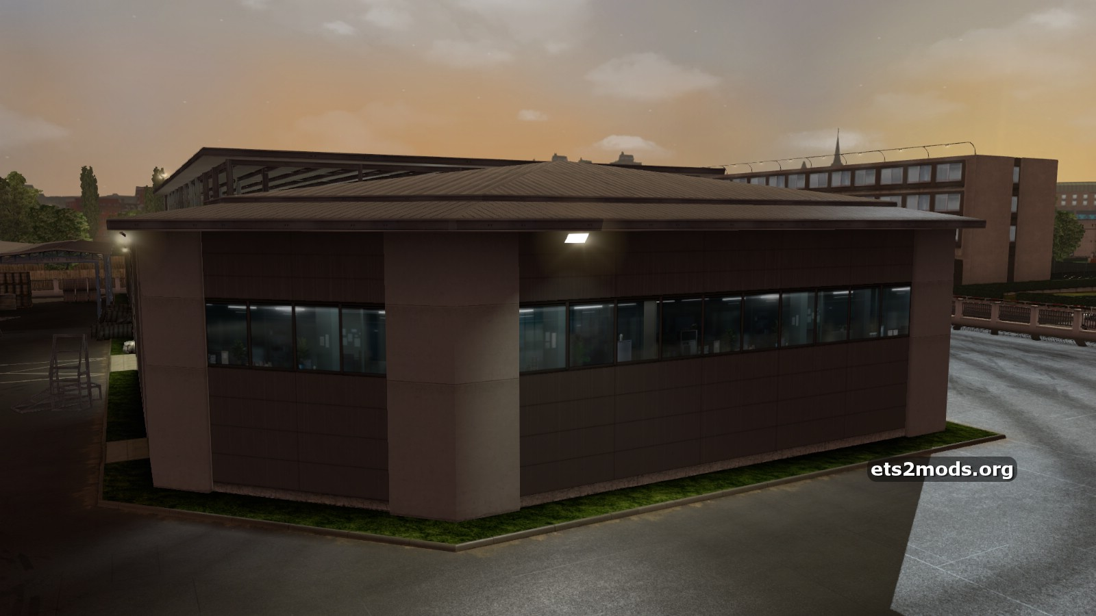 New large garage with editable company name ets2 mods for Large garages