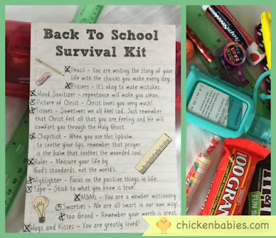 create a Back to School survival kit- give your kids advice and school supplies at the same time.  clever!