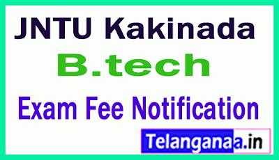 JNTU Kakinada B.Tech Exam Fee Notification
