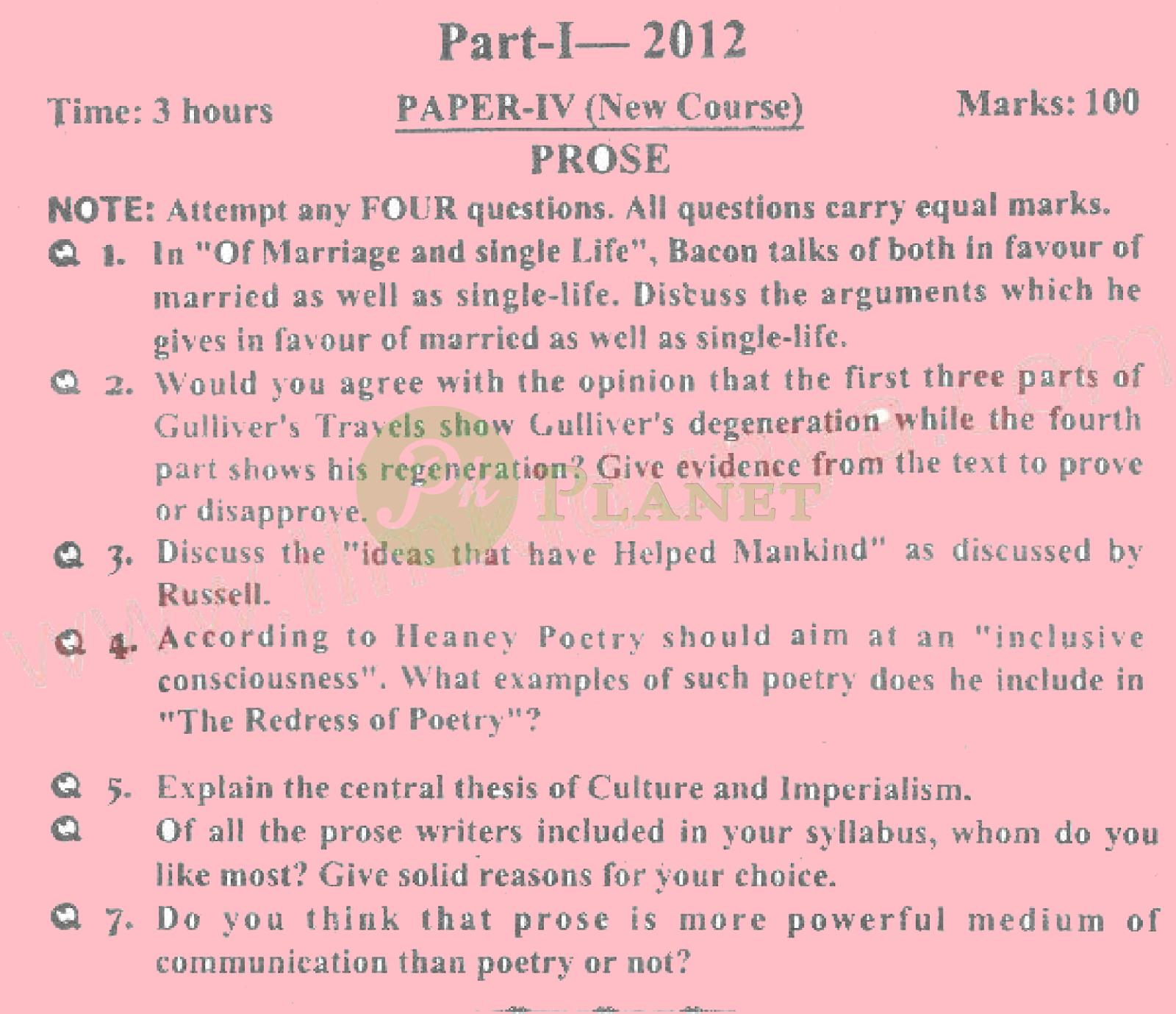 ma english part 1 past papers punjab university 2012 prose