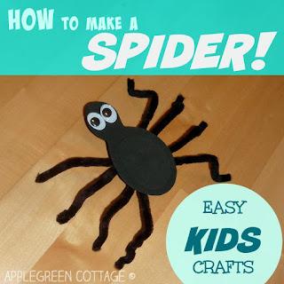 spider crafts for kids - Halloween tutorial