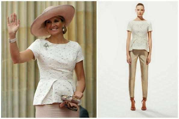 Queen Maxima wore Natan White  floral relief Lace blouse. Style of Maxima