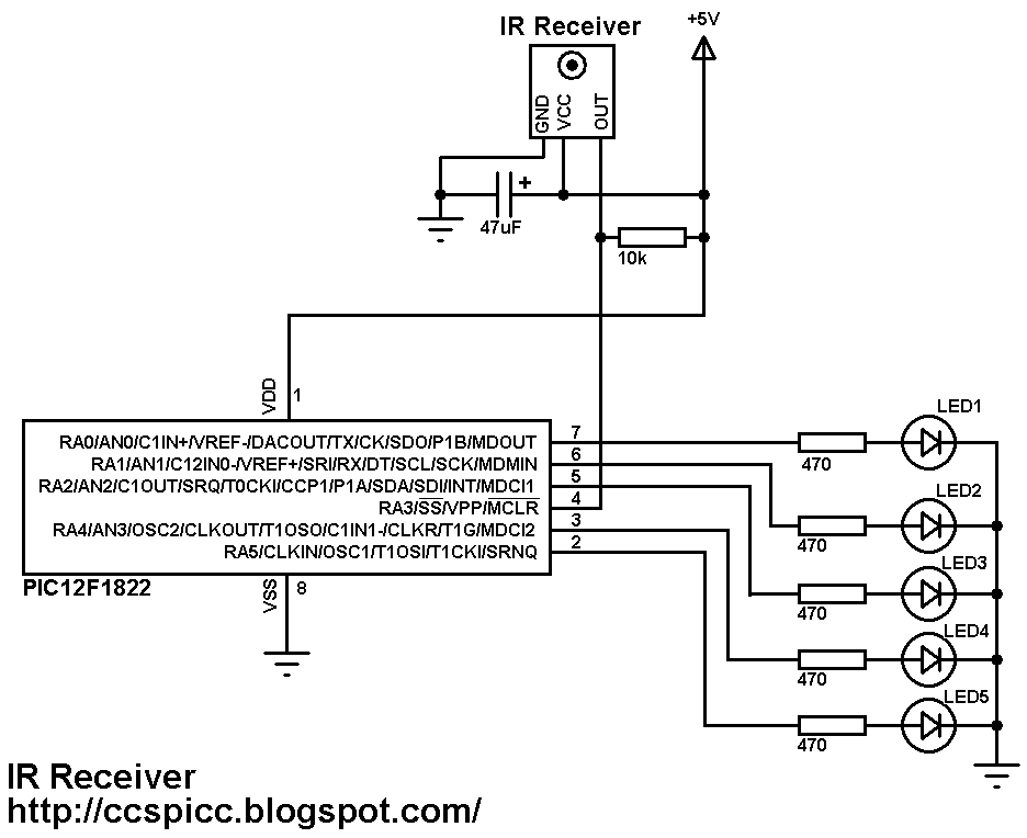 IR Remote control transmitter and receiver using PIC12F1822