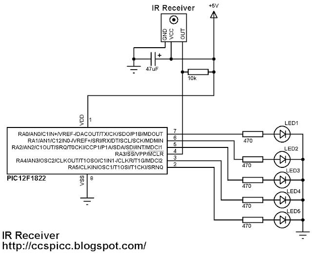 NEC IR remote control receiver circuit PIC12F1822