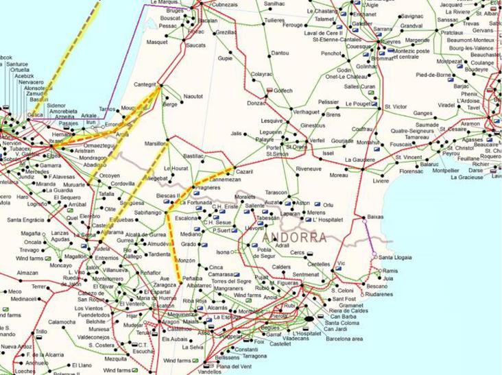 Una de los escenarios a futuro de líneas de interconexión con Francia según el informe de TRACTEBEL-Engineering