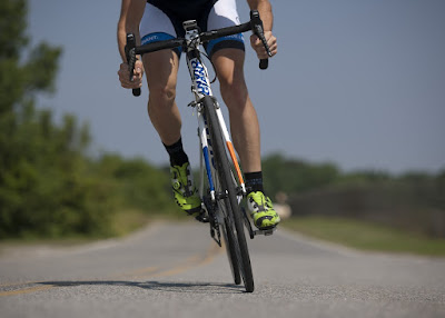 A Cyclist exercising