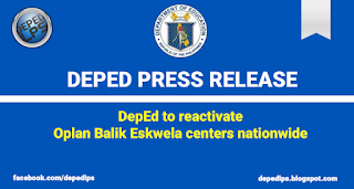 DepEd to reactivate Oplan Balik Eskwela centers nationwide