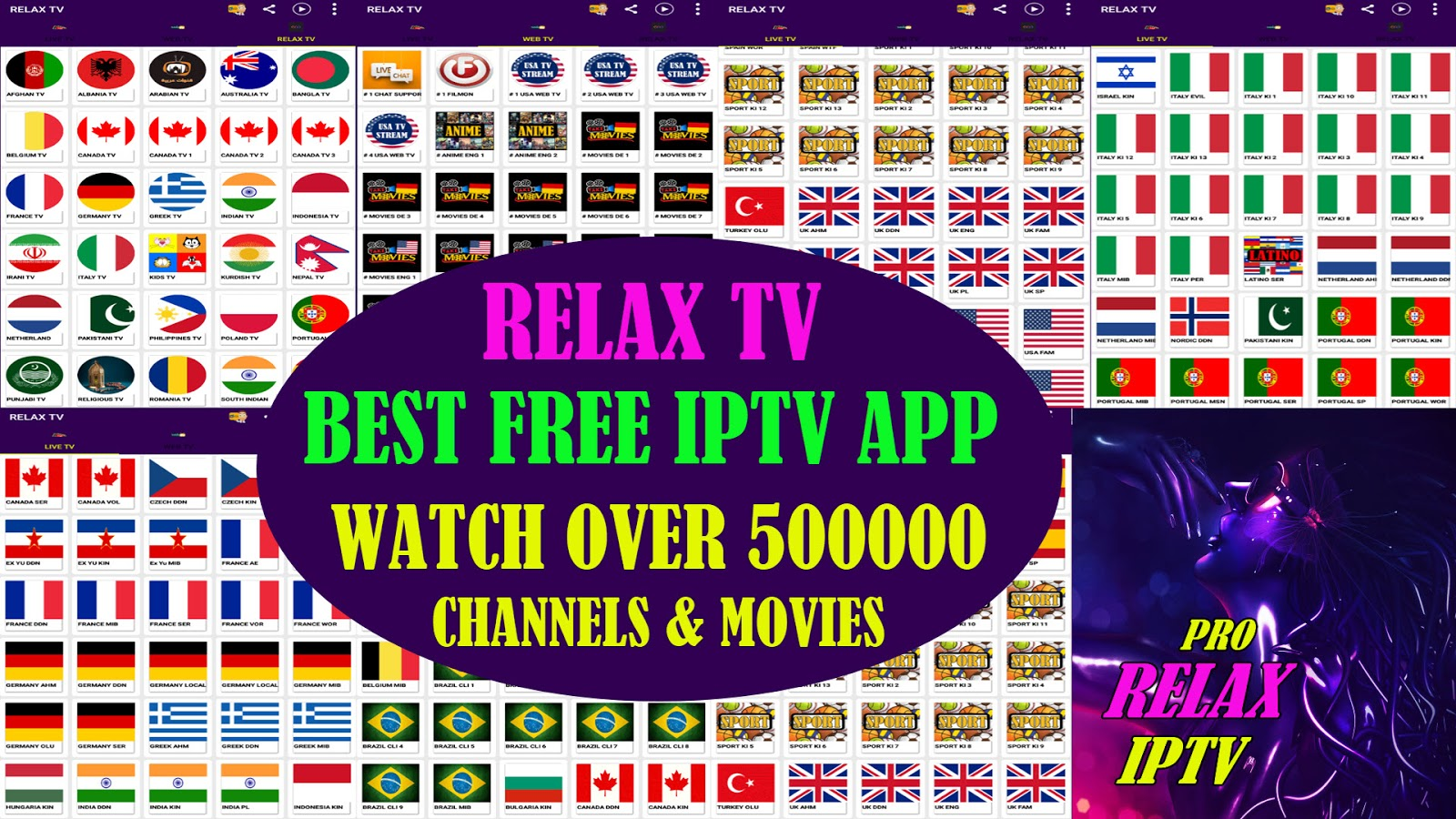 RELAX TV BEST FREE IPTV & WATCH OVER 50000 CHANNELS ON YOUR