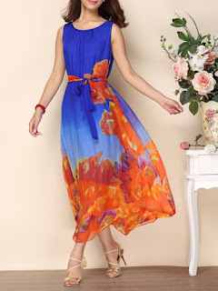 Blue Silk Crew Neck Printed Sleeveless Maxi Dress
