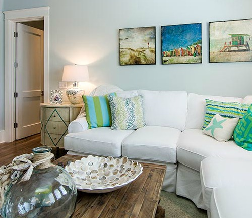 beach pillows and shore ambiance with coastal beach art as wall decor