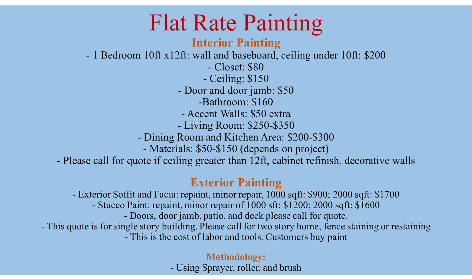 September 22, 2017 Flat Rate Painting