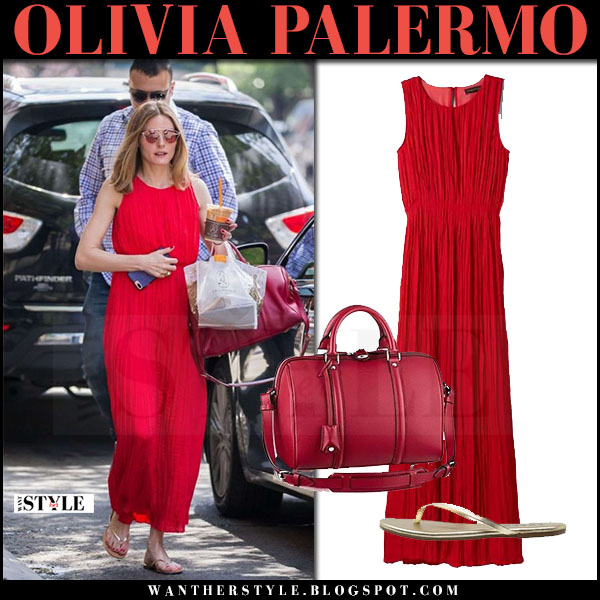 Olivia Palermo in red pleated maxi dress banana republic and red sunglasses dior so real pop what she wore june 2017