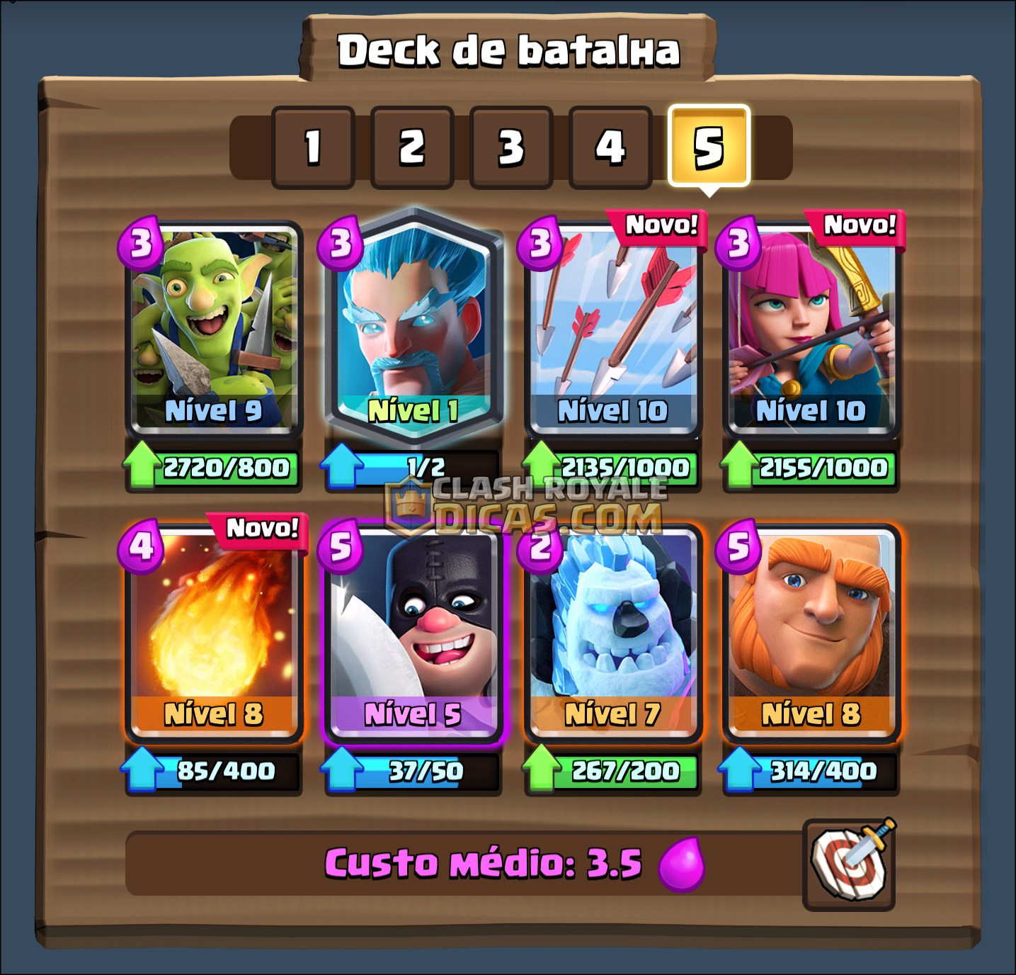 Sneak peek 01 mais espa os para decks clash royale dicas for Clash royale deck arc x