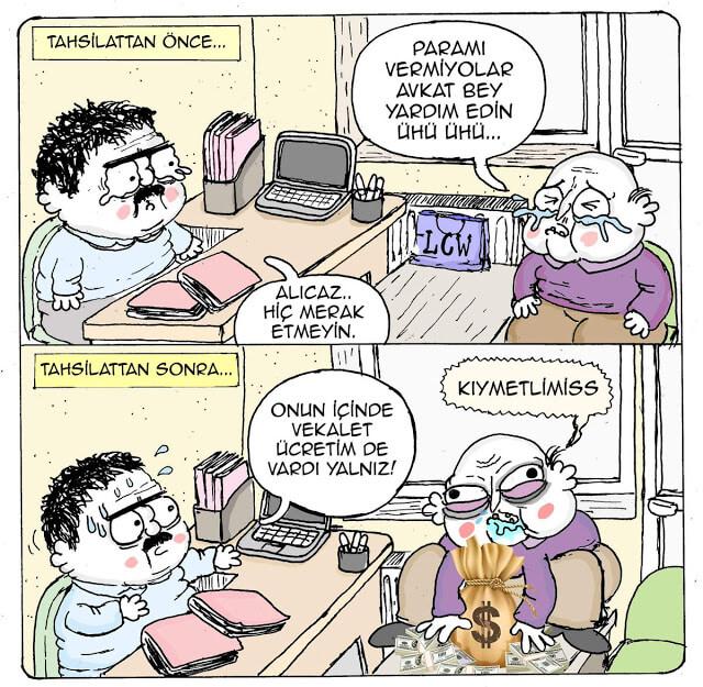 avukatlık vekalet ücreti karikatür