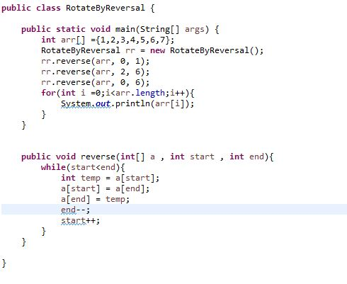 Interview Question Program in java for Array Rotation Program in