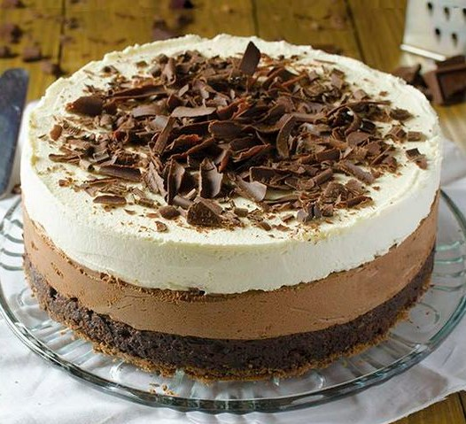 Triple Chocolate Mousse Cake Recipe #Cake #Chocolate