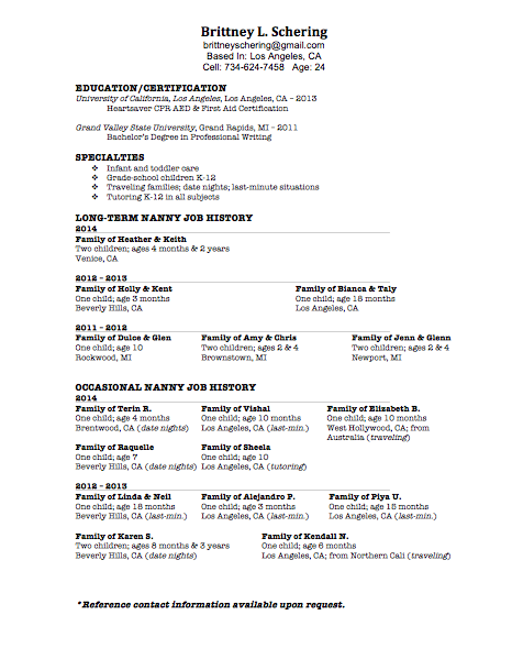 Nanny Resumes Objective. sample resume professional nanny resume ...