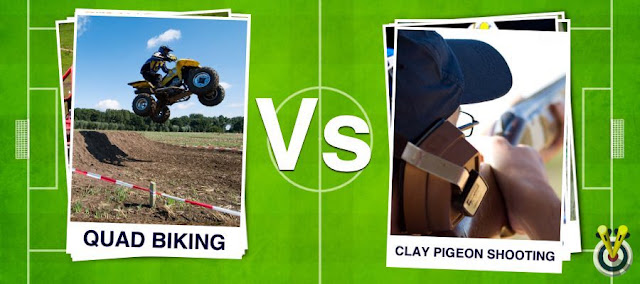 Quad Biking Football Card and Clay Pigeon Shooting Football garden on a football pitch