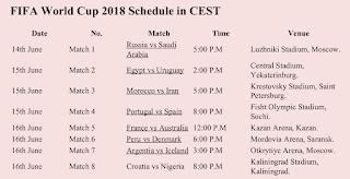 FIFA World Cup 2018 Schedule CEST PDF