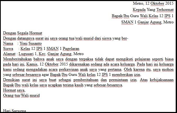 Contoh Surat Izin Tidak Masuk Sekolah Bahasa Inggris Download Contoh Lengkap Gratis