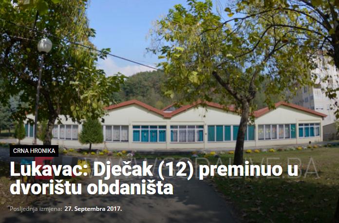 Rezultat slika za Lukavac: Dječak (12) preminuo u dvorištu obdaništa