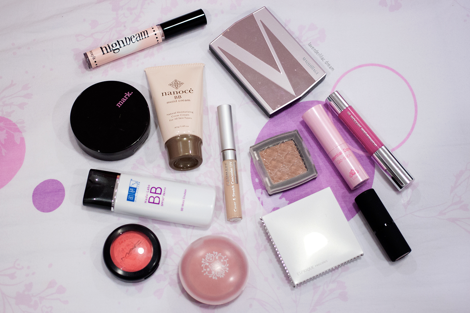 Project Make a Dent, Benefit highlight, Nanoce BB Cream, Hada Labo BB Cream, MAC Cream Colour, Etude House blush and bronzer, Esprique Precious palette, Maquillage palette, Lioele lip balm, Clinique chubby stick