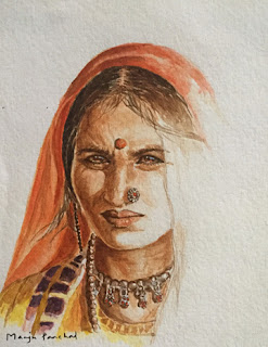 A water colour portrait of a woman from Kutch, India by Indian artist Manju Panchal