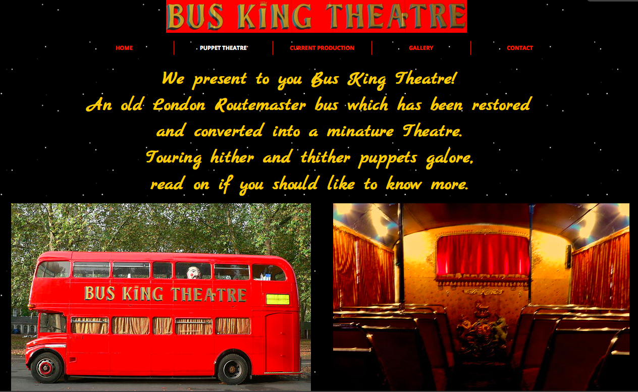 Gabby Dawnay - writing and artwork: BUS KING THEATRE NEW WEBSITE